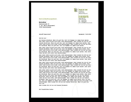 Entwurf und Umsetzung für einen Rechnungs- und Briefbogen zur Hinterlegung in einem Word-Dokument.