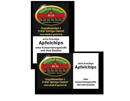 Etiketten zur Auszeichnung verschiedener Apfelprodukte