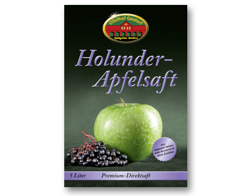 Front der Kartonage in der Geschmacksrichtung Apfel-Holunder