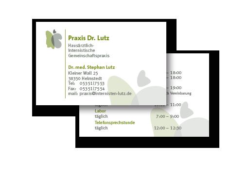 Entwurf und Druckumsetzung für mehrere Doppelseitige Visitenkarten